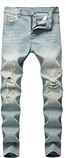 Boy's Ripped Destroyed Distressed Stretch Skinny Fit Denim Jeans