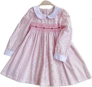 0a7304c75 SAFJK Autumn Girl Smocked Dresses Long Sleeve Baby Girl Embroidery Flower  Kids Dresses Princess Dress New