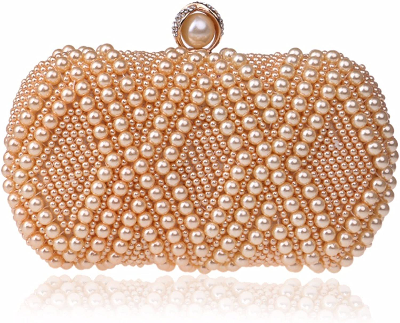 XJTNLB New Pearl Dinner Bag, Occident Fashion Lady Dress Bag Evening Dress Bag,Champagne color