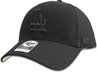 Los Angeles Dodgers Hat MLB Authentic '47 (Forty Seven) Brand MVP Adjustable Black on Black Baseball Cap Adjustable Adult One Size Men & Women 85% Acrylic 15% Wool
