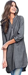 Women's Plus Size Striped Henley Tunic