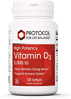 Protocol For Life Balance - Vitamin D3 5000 IU (High Potency) Supports Calcium Absorption, Bone and Dental ...
