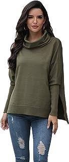 Ladies Split Turtleneck Sweater Loose Plus Size Long Sleeve Pullover
