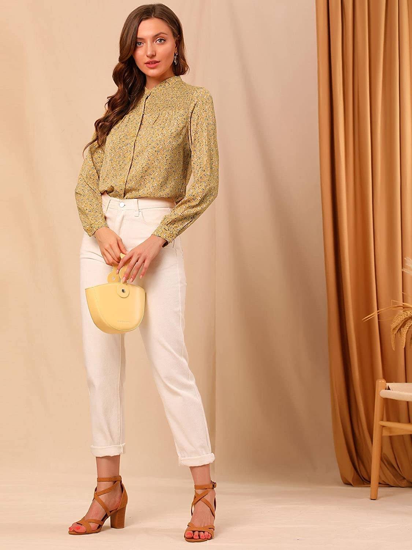 Allegra K Women's Ditsy Floral Mock Neck Blouse Long Sleeve Smocked Chiffon Peasant Top Shirt