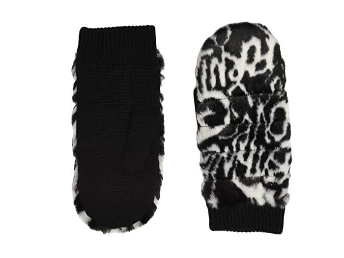 UGG  All Over Faux Fur Mitten with Sherpa Lining (Graffiti  Black/White) Extreme Cold Weather Gloves