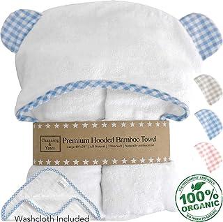 Channing & Yates - Premium Baby Towels for Boys - Hooded Baby Boy Towel & Washcloth Set - Organic Bamboo Baby Towels with Hood - Baby Boy Bath Towels Gift (Blue)