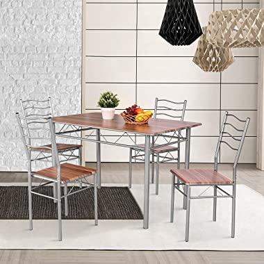 Giantex Modern 5 Piece Dining Table Set with 4 Chairs Metal Frame Wood Like Kitchen Furniture Rectangular Table & Chair S