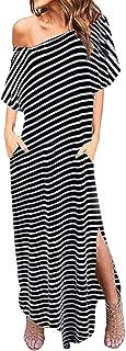 Women One Off Shoulder Maxi Dress Short Sleeve Split Stripe Solid Color Pockets Kaftan Dress