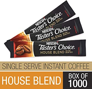 Nescafe Instant Coffee, Ground Coffee, Single Serve, Light Roast, Tasters Choice, 1.5 g Packets (Box of 1000)
