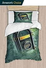 PRUNUSHOME 2 Piece Hotel Luxury Premium Bed Sheets Set Antique Radio Music Box Backdrop Print Green Yellow and White 2 Piece Set California King