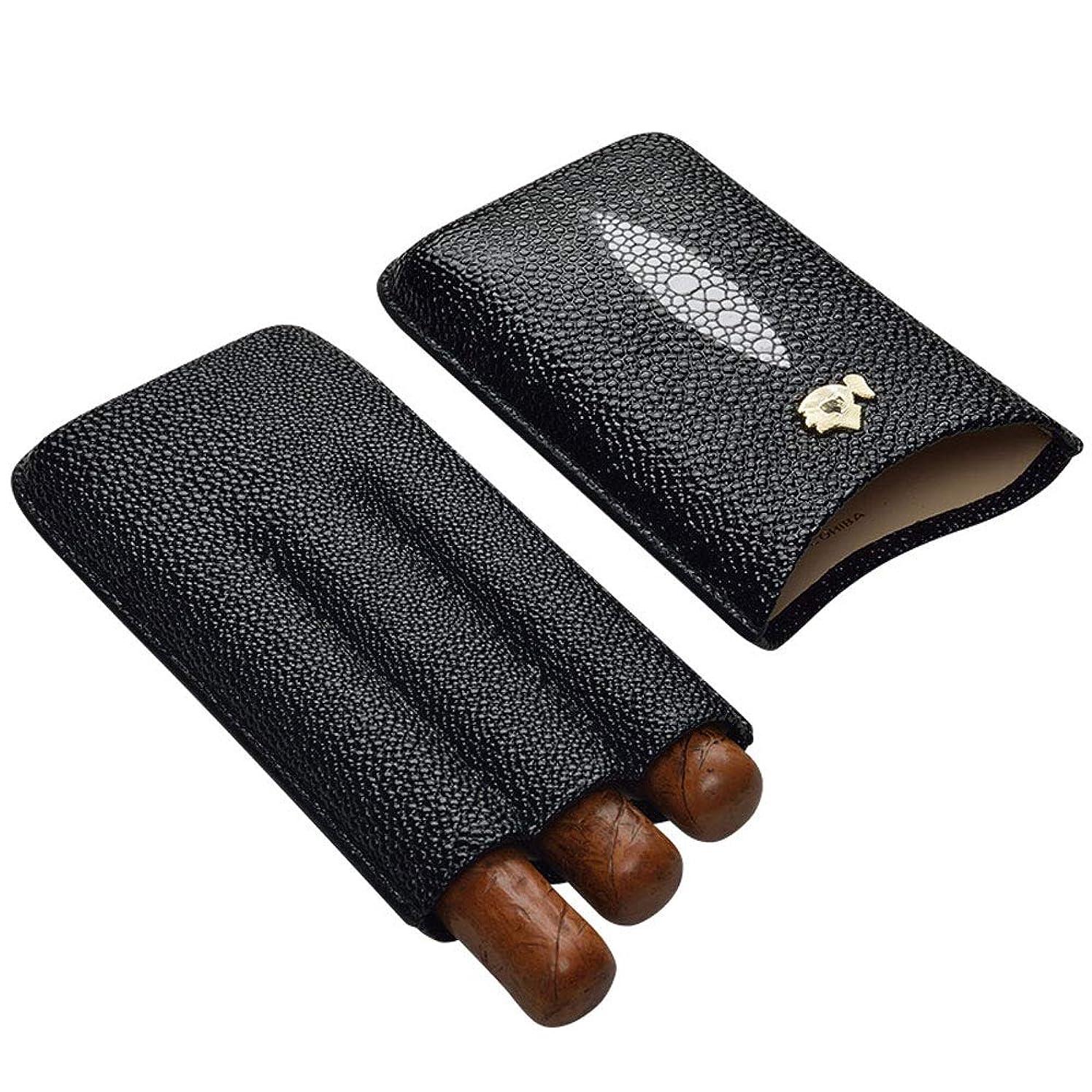 センサー略語囲まれたシガー本革収納ボックス 携帯便利 多機能 シガーボックス 葉巻ケース 喫煙具 灰皿タバコケース ヒュミドール ( 3本)