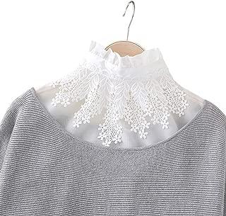 Ruffles Turtle Neck False Shirt Collar Lace Leaves Decorative Dicky Choker White Detachable Blouse