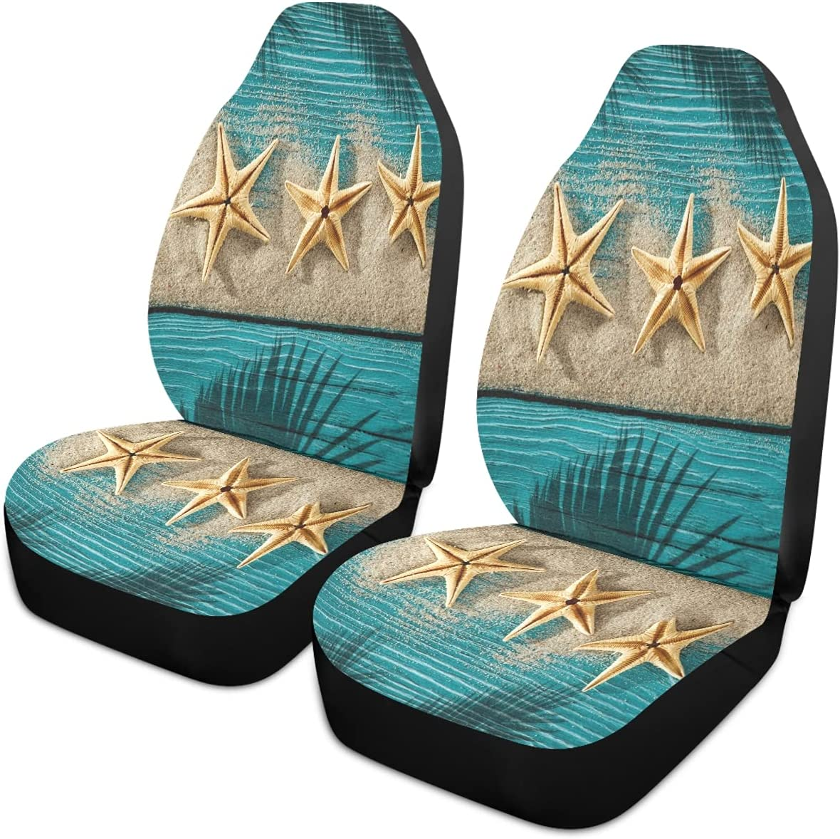 Oarencol Clearance Max 71% OFF SALE Limited time Summer Starfish Rustic Teal Wood Covers Seat Univer Car