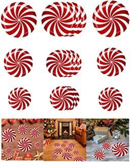 Mendom 15 Pcs Peppermint Floor Decals Stickers for Christmas Decoration Candyland Theme Party Supply