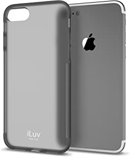 iLuv iPhone 8/iPhone 7 Soft Flexible Lightweight Protective Case with Shock Absorbing Corner, Semi-transparent Back, Form-fitting Construction, Ultra-thin Design,and Slip Resistant Framing (Black)