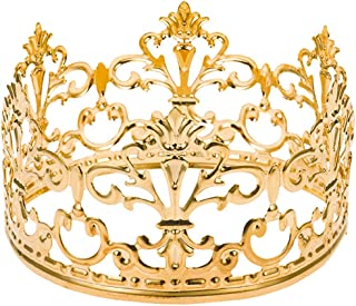 Little Vintage Crown Cake Topper Royal Themed Baby Shower Decorations Princess And Prince Headpiece (Matted Golden)