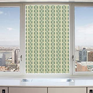 3D Decorative Privacy Window Films,Vertical Wavy Ornament Lines and Graphic Flowers on Branch Pattern,No-Glue Self Static Cling Glass Film for Home Bedroom Bathroom Kitchen Office 24x36 Inch
