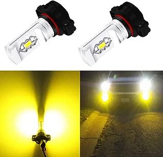 Alla Lighting 2504 PSX24W LED Fog Light Bulbs 3800lm Xtreme Super Bright PSX24W LED Bulb High Illumination ETI 56-SMD LED PSX24W Bulb 12276 PSX24W 2504 LED Fog Lights - 3000K Amber Yellow