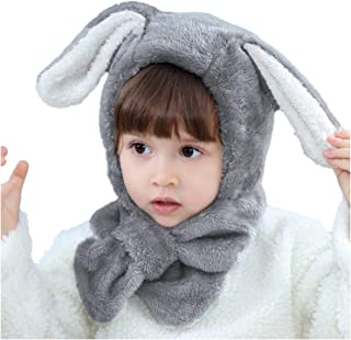 2c3c5764ebf Bienvenu Toddler Boys Girls Lovely Animal Ears Thick Hood Fleece Hat with  Neck Scarf for Autumn