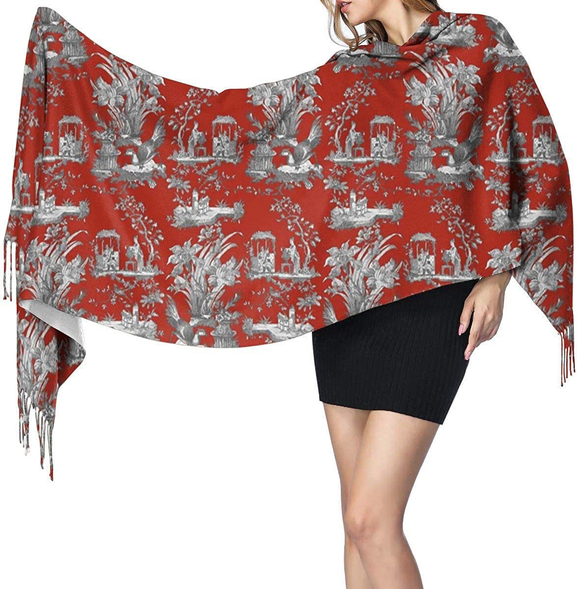 Toile Chinoiserie Turkey Red Women's Winter Warm Scarf Fashion Long Large Soft Cashmere Shawl Wrap Scarves