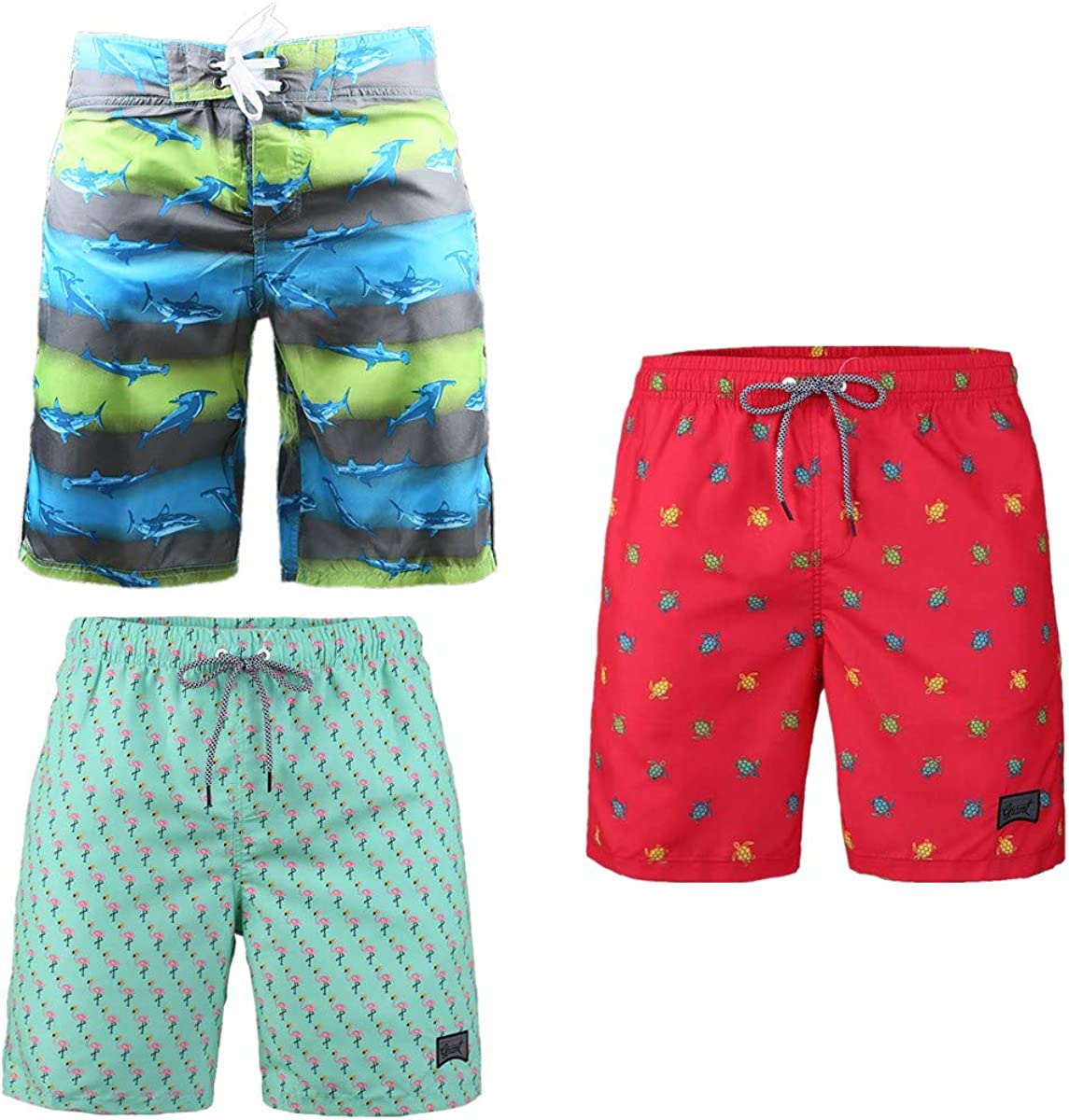 Beautiful Giant 3-Pack Men's Board Shorts Drawstring Vacation Lightweight Quick Dry Underwear