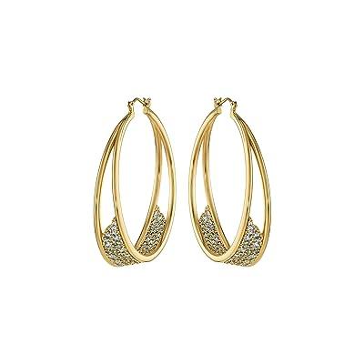 Swarovski Gilded Treasures Hoops Earrings (CZ White) Earring