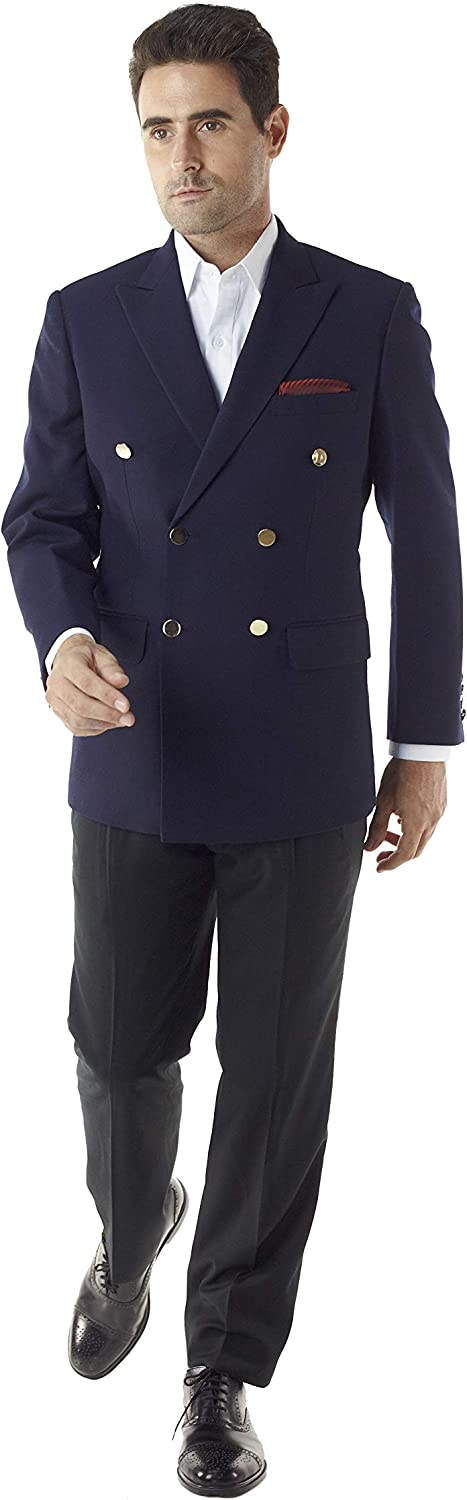 Navy Super 120s Wool - Men's Double Breasted Blazer and Jacket by MyCustomTailor