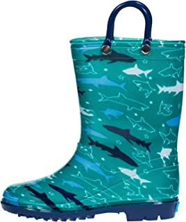 Children's Waterproof PVC Rain Boot with Handles Lightweight & Comfortable Easy for Little Kids & Toddler Boys Girls