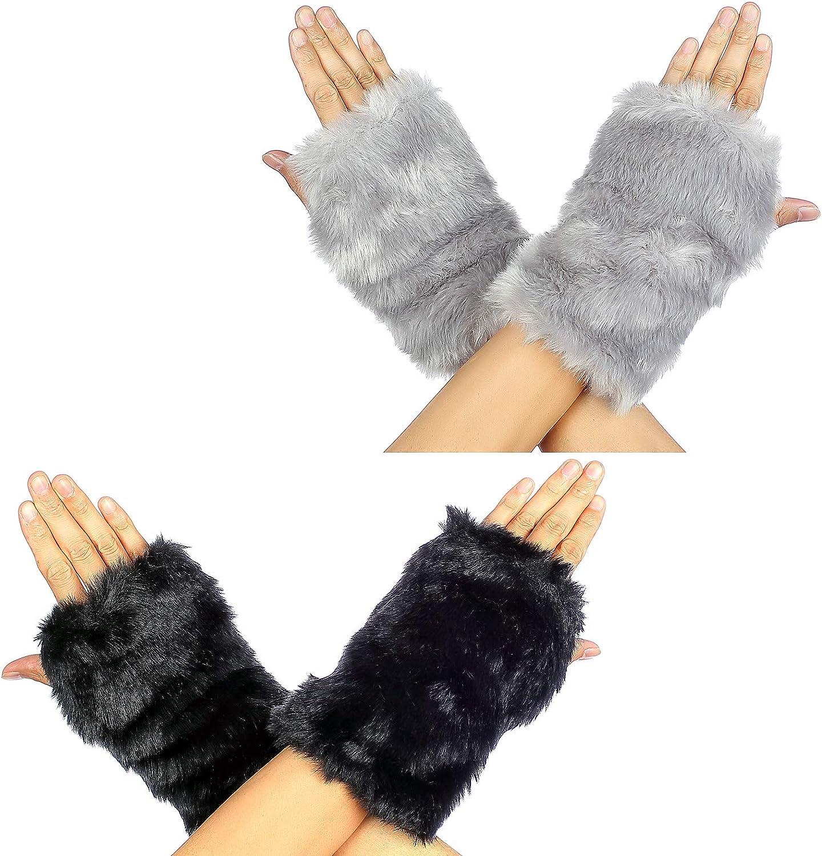 2 Pairs Fingerless Artificial Rabbit Fur Gloves- Furry Hand Wrist Fingerless Gloves Mittens Soft Plush Thumb Hole Mittens Winter Warm Supplies for Women Girls Touchscreen Holiday Present (Black& Gray)