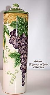 Porta spaghetti Linea Frutti Misti Realizzato e Dipinto a mano Le Ceramiche del Castello Made in Italy Dimensioni 27,5 x 9...