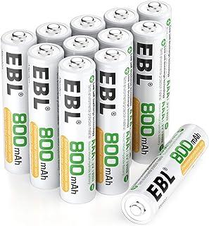 EBL 12 x Pilas AAA Recargables Ni-MH 800mAh Baja Autodescarga con ProCyco Baterías Recargables para Juguete, Linternas, Despertadores, Reloj