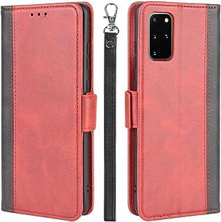 Galaxy S20 Plus ケース 手帳型 5G ギャラクシー S20 Plus カバー 財布型 サイドマグネット式 ストラップホール Qi充電対応 横置き機能 カード収納 高級PUレザー XJUN ワインレッド-4d29