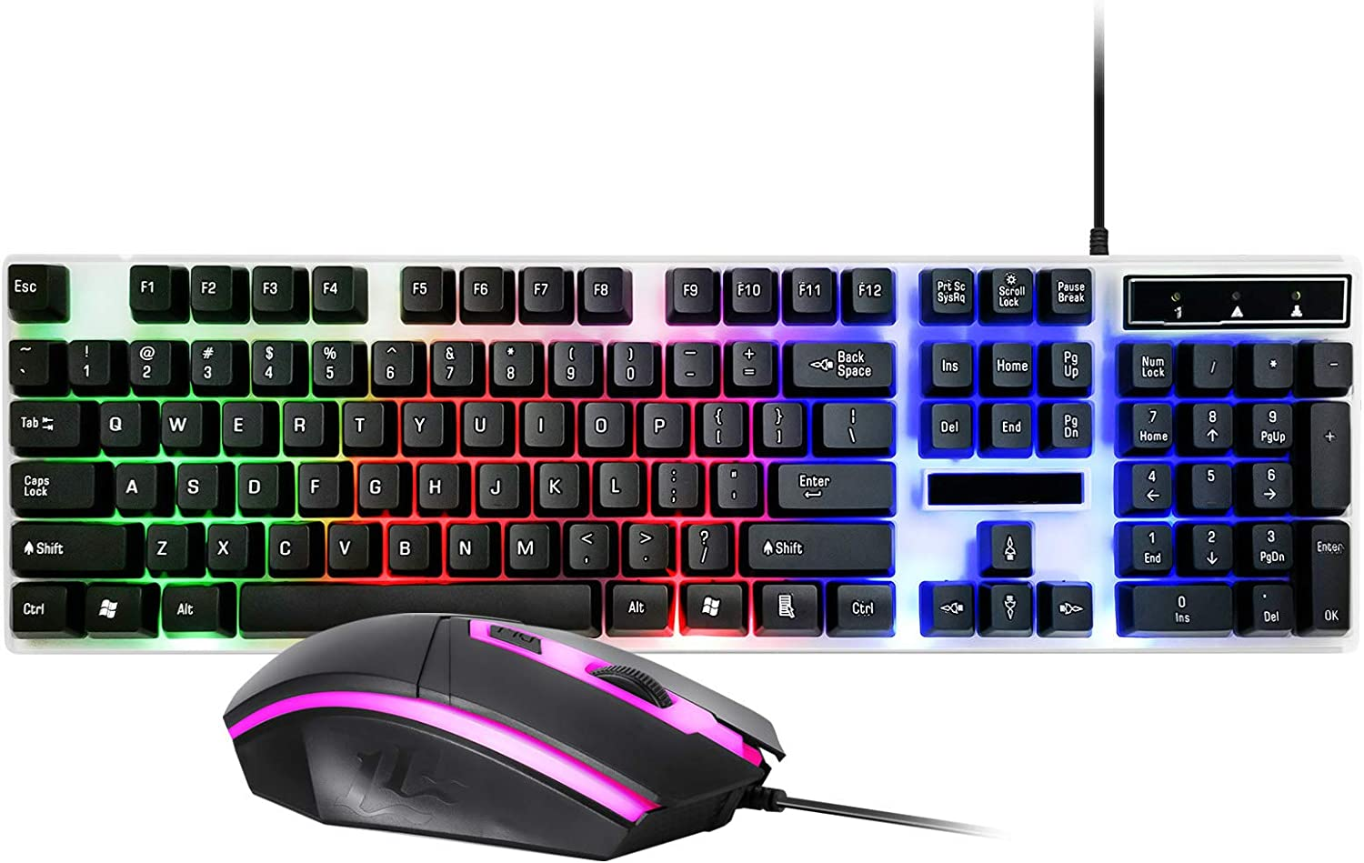 SOONHUA RGB Gaming Keyboard and Mouse Combo,104 Keys Backlit Computer Keyboard with Gaming Ergonomic Keyboard Mouse, USB Wired Set for PC Gamer Laptop Work