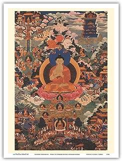 Buddha Shakyamuni - Wheel of Dharma Mudra (Dharmachakra) - Vintage Thangka Buddhist Painting - Master Art Print 9in x 12in