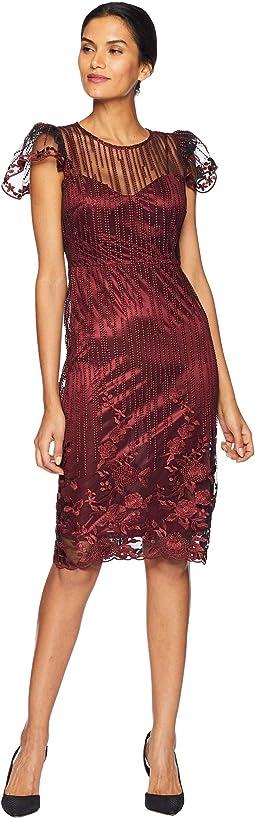 Embroidered Mesh Sheath Dress