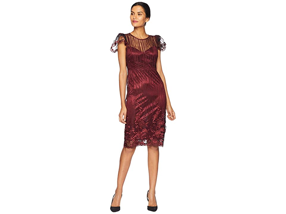 Taylor Embroidered Mesh Sheath Dress (Burgundy) Women