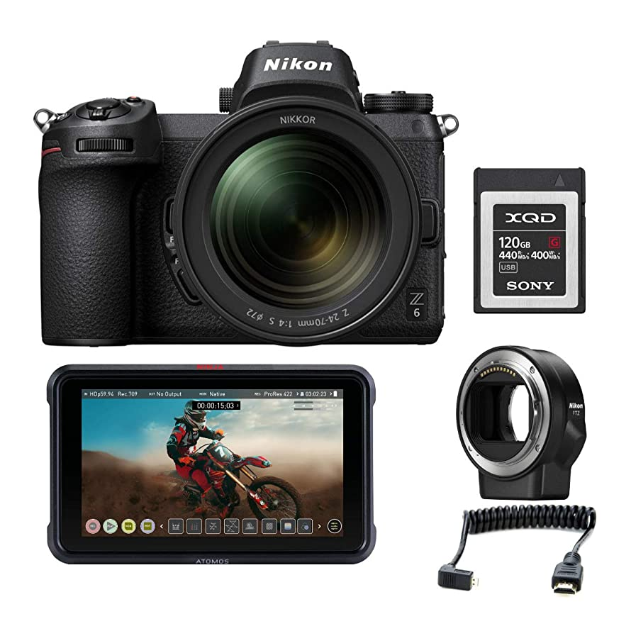 Nikon Z6 Mirrorless Digital Camera with 24-70mm Lens + Nikon FTZ Mount Adapter and Atomos Ninja V Portable Recorder + 32GB XQD Card and Accessories Kit