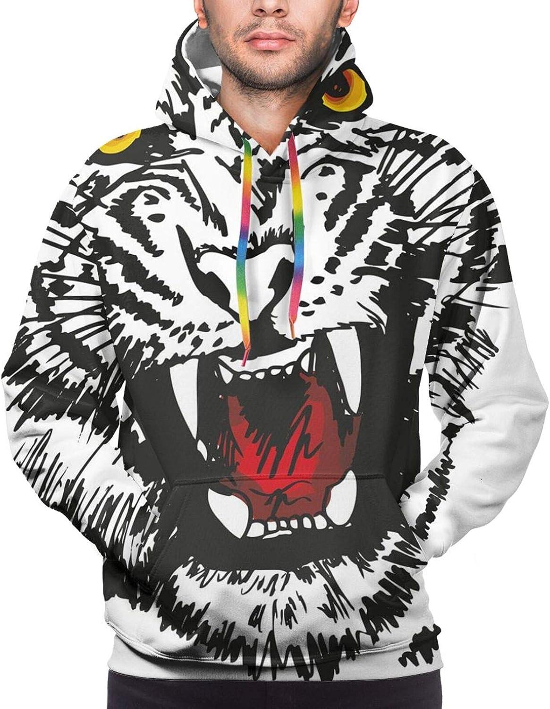 TENJONE Men's Hoodies Sweatshirts,Angry Feline with Black and White Pattern Realistic Eyes Hunting Surviving