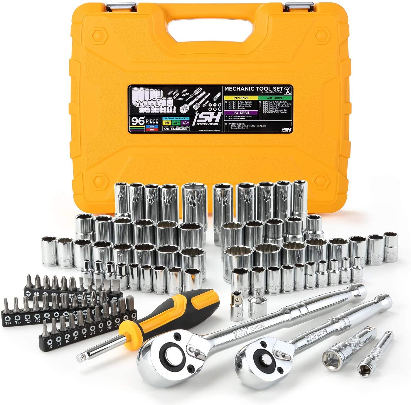Steelhead 96件机械工具套接字设置