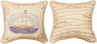 Kensington Row Coastal Collection Throw Pillows - Ship in A Bottle Reversible Throw Pillow #1-12