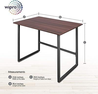 Wipro Furniture Wood;Metal Office Desk; Study Desk(Walnut Finish,Dark Walnut)