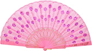 Folding Hand Fans for Wedding Decoration Mariage Wholesale Favors Flower Pattern Lace Silk Chinese Fan for Dancing Japanese,D