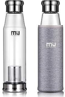 MIU COLOR – Botella de vidrio con funda de nailon, portátil, Vidrio, gris, mit Teesieb