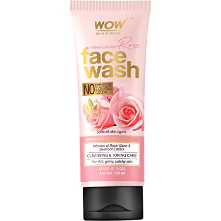 WOW Skin Science Himalayan Rose Face Wash Tube for Cleansing Toning Infused with Rose Water Beetroot Extract for All Skin Types No Parabens Sulphates Silicones Color , White, 100 millilitre