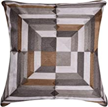 Decozen Decorative Throw Pillow with Insert 20x20 inches in 1 Set Embroidered Square Pattern for Couch Sofa Bed Living Room Bedroom Farmhouse Indoor Patio