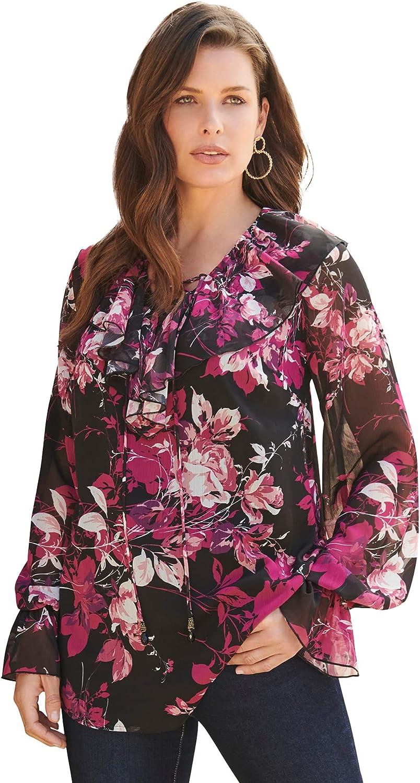 Roamans Women's Plus Size Ruffle Lace-Up Top Blouse