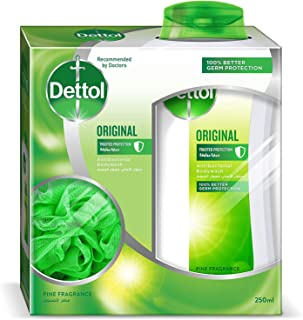 Dettol Original Anti-Bacterial Body Wash With Puff 250ml