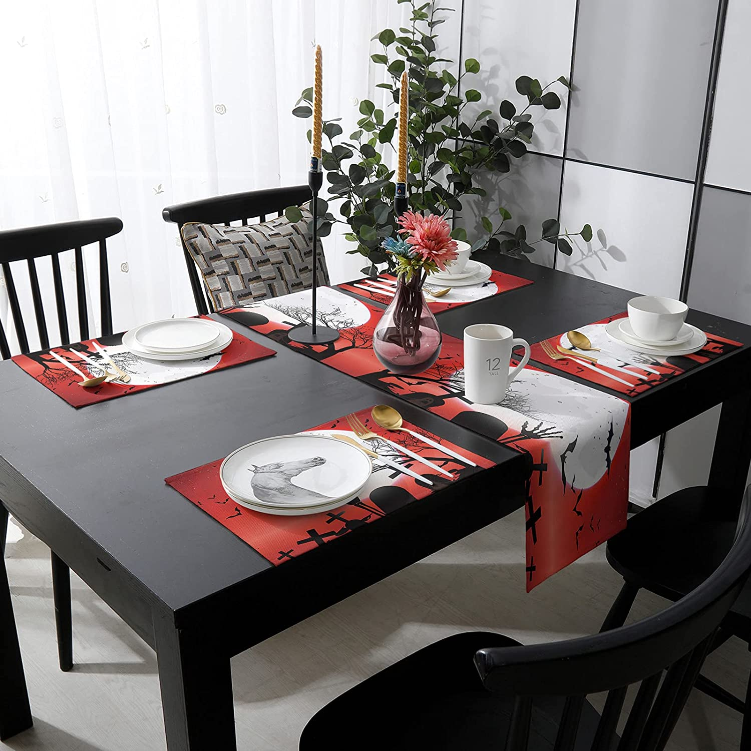 Womenfocus Outdoor Table Runner and Gorgeous Kitchen 4 Heat-Pr Placemats Free shipping