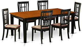 QUNI7-BCH-C 7 PC Dining set-Dining Table with 6 Wood Dining Chairs