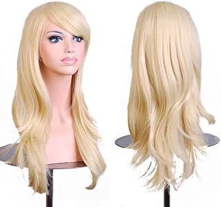 Women's Heat Resistance 28 inch 70cm Blonde Long Big Wavy Curly Hair Ends Halloween Costume Party Wigs With Bangs and Free Wig Cap for Women